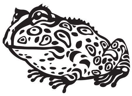 rana caricatura: de dibujos animados de cuernos pac-man rana. Imagen en blanco y negro