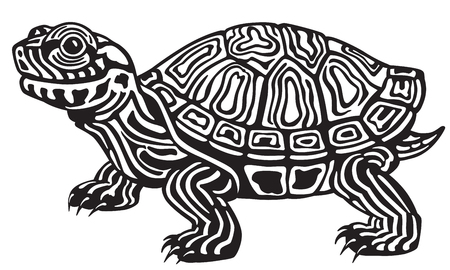 aquatic reptile: cartoon red eared slider turtle. Black and white image