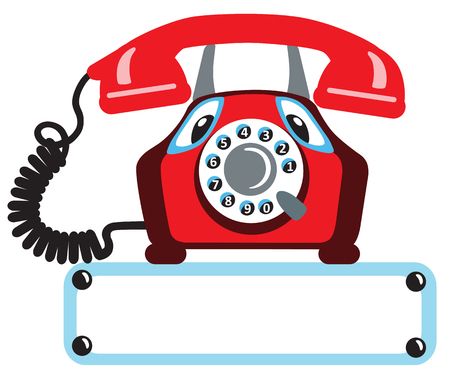 old phone: cartoon old rotary phone isolated on white background Illustration