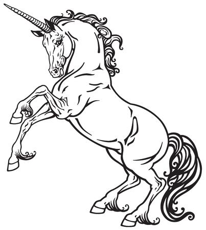 ユニコーンの神秘的な馬を飼育します。黒と白のタトゥー画像  イラスト・ベクター素材