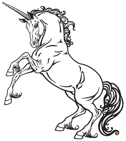 rearing unicorn mythical horse. Black and white tattoo image