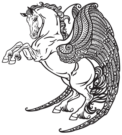 fantastic creature: pegasus mythical winged horse . Black and white tattoo image