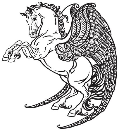pegasus mythical winged horse . Black and white tattoo image