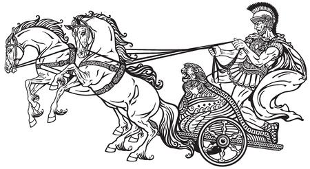 guerriero romano in un carro trainato da due cavalli. Illustrazione in bianco e nero