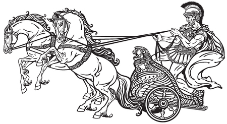 warrior: roman warrior in a chariot pulled by two horses . Black and white illustration