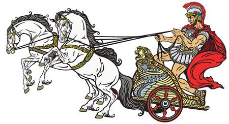 cascos romanos: guerrero romano en un carro tirado por dos caballos. Imagen aislado en blanco