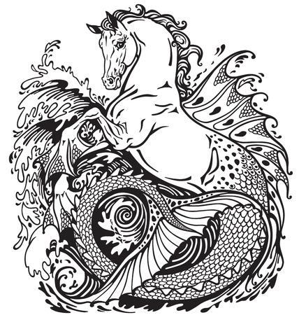 hippocampus: hippocampus or kelpie mythological sea-horse . Black and white illustration