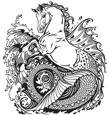 hippocampus or kelpie mythological sea-horse . Black and white illustration Imagens - 47931536