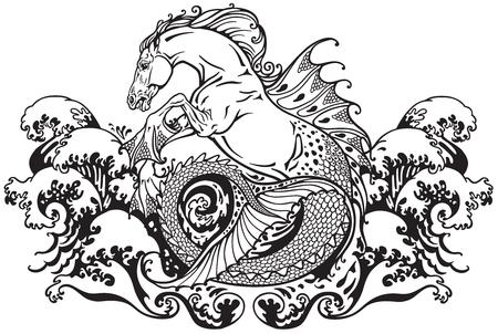 hippocampus of kelpie mythologische zeepaardje. Zwart-wit afbeelding Stock Illustratie