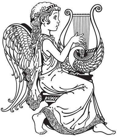 side view: little girl angel playing lyre . Black and white side view image Illustration