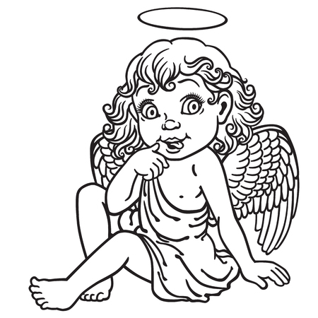 cute angel: cartoon little girl angel . Black and white outline image