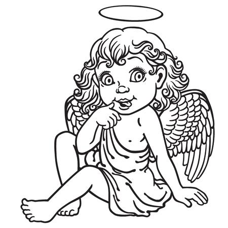 Karikatur kleines Mädchen Engel. Bild Schwarzweiss-umreiß Standard-Bild - 48146696