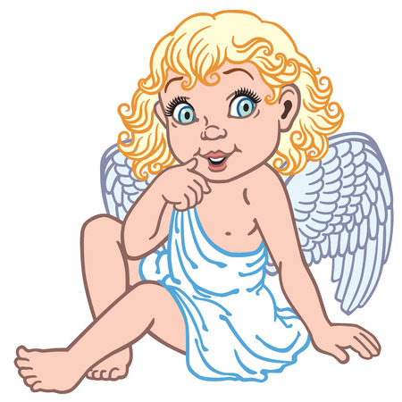baby angel: cartone animato piccolo angelo ragazza isolata su bianco