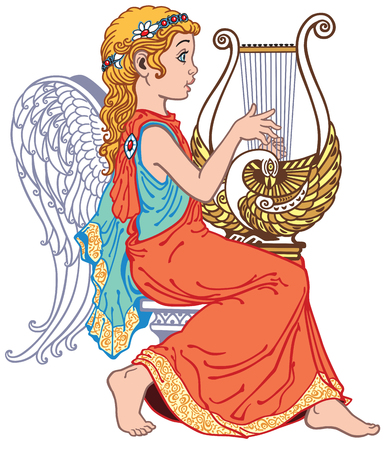 little girl angel playing lyre isolated on white Illustration