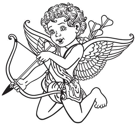 amur: cartoon cupid angel shooting arrow , black and white outline image Illustration