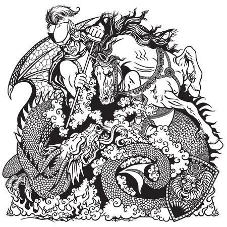 cavaliere medievale: San Giorgio il cavaliere a cavallo che combatte il drago bianco e nero illustrazione Vettoriali