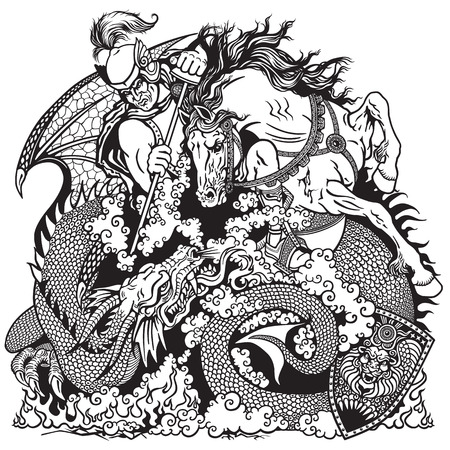 fight: St George the knight on horseback fighting a dragon Black and white illustration