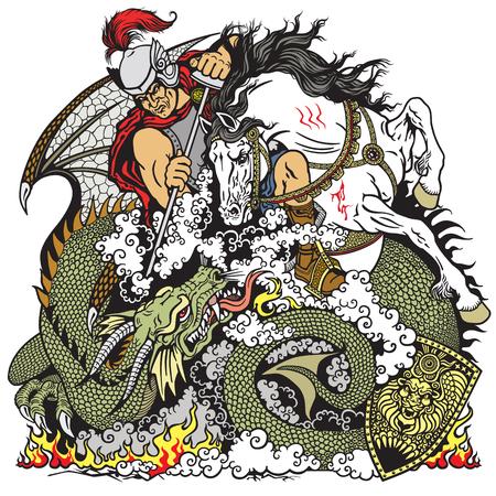 dragones: San Jorge el caballero a caballo luchando contra un dragón