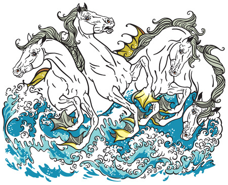 kelpie: four mythological seahorses hippocampus