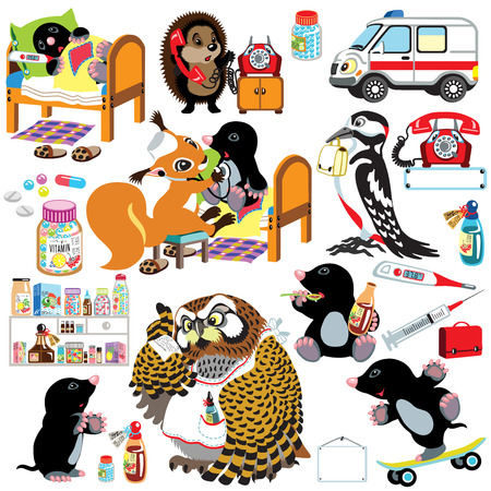 medical staff: set of healthcare with sick cartoon mole and medical staff . Isolated images for little kids