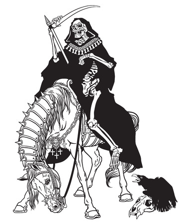 reaper: grim reaper symbol of death and time sitting on a horse and holding scythe.