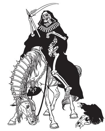 esqueleto: parca símbolo de la muerte y el tiempo sentado en un caballo y la celebración de la guadaña.