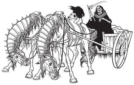 grim reaper in a cart of death harnessed by two horses Illustration