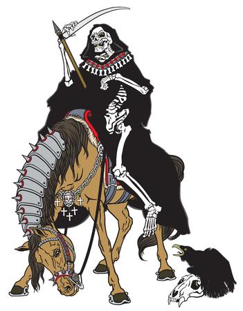 guadaña: parca símbolo de la muerte y el tiempo sentado en un caballo y la celebración de la guadaña Vectores
