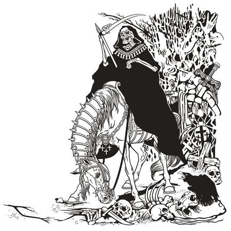 parca símbolo de la muerte y el tiempo sentado en un caballo y la celebración de la guadaña en el viejo cementerio. Ejemplo blanco y negro