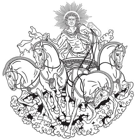 Helios personnification du soleil conduisant un char tiré par quatre chevaux attelés de front. Dieu dans la mythologie grecque antique