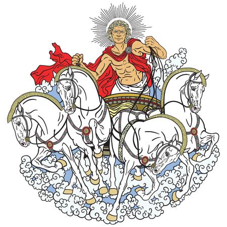 Helios personificación de la conducción de un carro tirado por cuatro caballos enjaezados al corriente sol. Dios en la antigua mitología griega Ilustración de vector