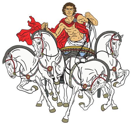charioteer in un carro quadriga romano trainato da quattro cavalli attaccati al passo