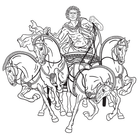 chariot: charioteer in a roman quadriga chariot pulled by four horses harnessed abreast . Black and white illustration Illustration