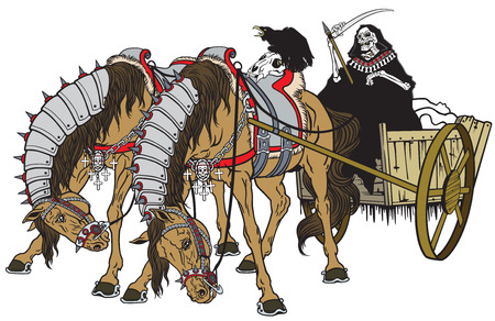 pulled: grim reaper in a cart of death pulled by two horses. Image isolated on white
