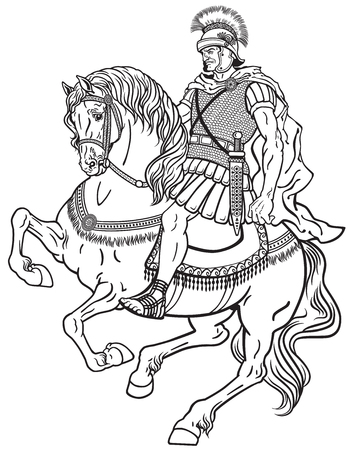horse warrior: roman warrior riding the horse. Black and white illustration