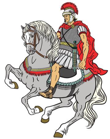 romana: Warr romano que monta el caballo aislado en blanco Vectores