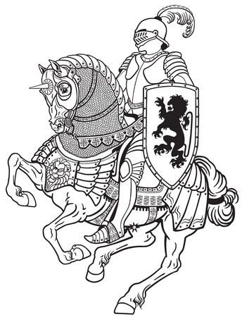 medieval knight riding armored horse in gallop. Black and white illustration Ilustração