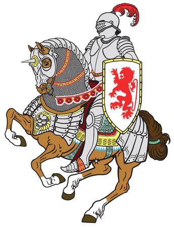 edad media: caballero medieval a caballo caballo blindado en el galope Vectores