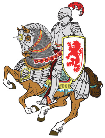 medieval knight riding armored horse in gallop Illustration