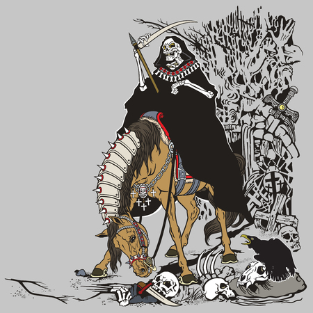 haunting: grim reaper symbol of death and time sitting on a horse and holding scythe in old cemetery