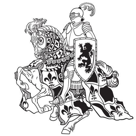 middeleeuwse ridder het berijden gepantserd paard in galop. Zwart-wit beeld Stock Illustratie