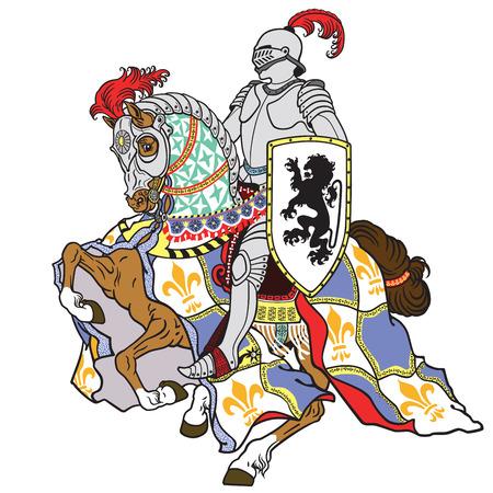 middeleeuwse ridder het berijden gepantserd paard in galop op wit wordt geïsoleerd Stock Illustratie