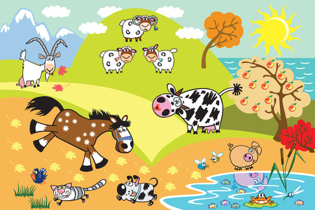 countryside: cartoon domestic animals:sheep,cow,goat,horse,pig, dog and cat in the countryside landscape. Children illustration