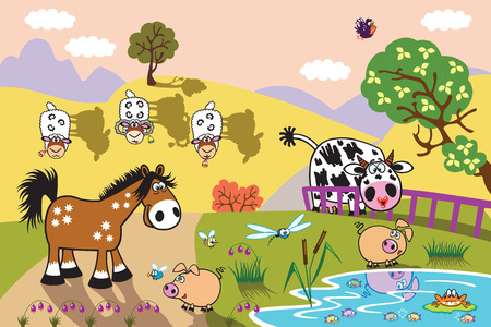 pastures: cartoon farm animals : sheep, horse ,cow and pig in the pasture field at evening. Rural landscape . Children illustration