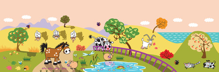 children pond: cartoon farm animals : sheep, horse ,cow and pig in the pasture field at evening. Rural landscape . Children illustration banner