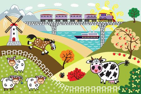 pasture: countryside rural landscape. Cartoon farm animals in the pasture field, train on bridge and sailing cruise ship. Children illustration vector Illustration