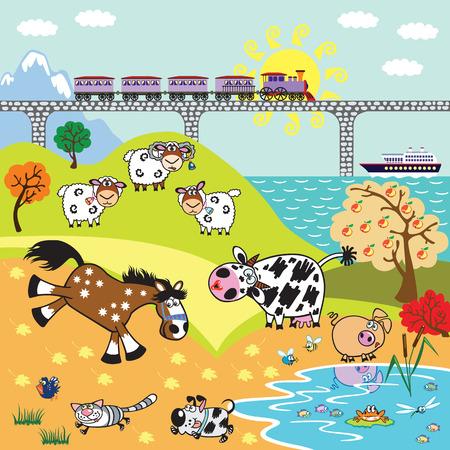 farmyard: countryside rural landscape. Cartoon farm animals in the pasture field, train on bridge and sailing cruise ship. Children illustration vector Illustration