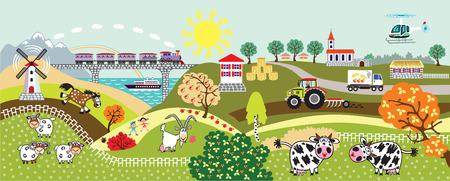 cartoon platteland landschap met boerderijdieren, tractor, trein, helikopter en molen. Kinderen illustratie vector banner