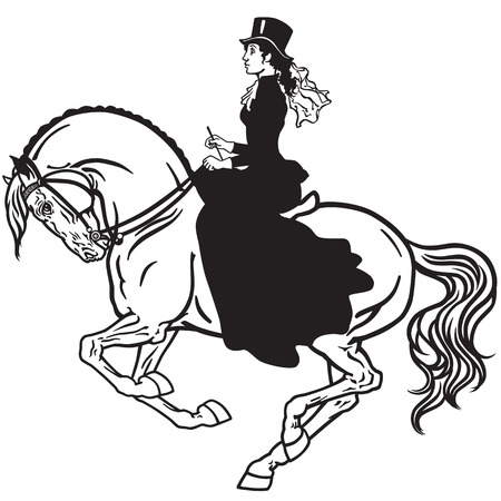 lady sitting on a horse. Woman side-saddle horseback riding. Black and white isolated vector Stock Illustratie