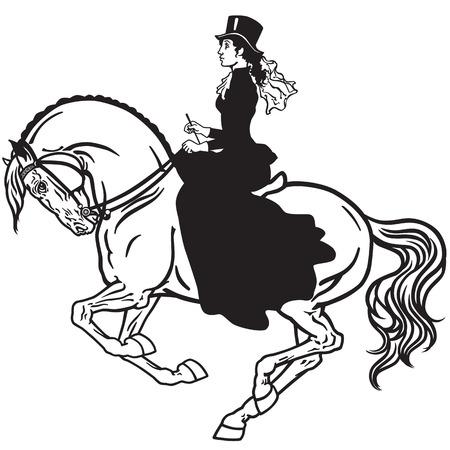 lady sitting on a horse. Woman side-saddle horseback riding. Black and white isolated vector Illustration
